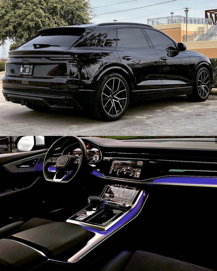 2019 Audi Q8 Schwarz Schwarz Led Interieur Interieur Schwarz New Interieur Schwarz Autosschwarz Traumauto Exotische Autos Audi