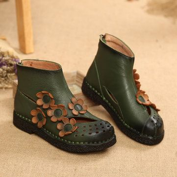 Socofy Chaussures Plates En Cuir Rétro Doux zull2OB9y
