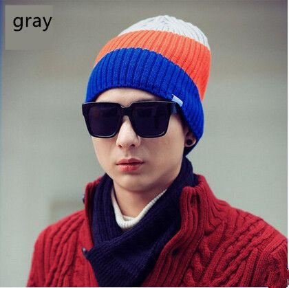 Colorful stripe knit hat for men warm beanie hats for winter