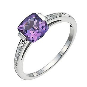 Sterling silver amethyst & diamond ring - Product number 9915710