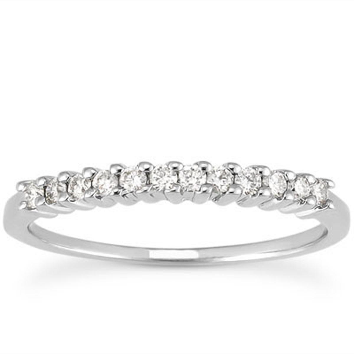14k White Gold Raised Shared Prong Diamond Wedding Ring Band – 9