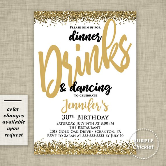 Fill in Birthday Party Invitations Set of 24 Chic 30th Birthday Black and Gold