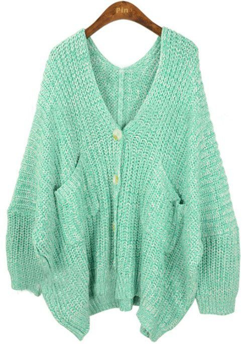 Light Green V Neck Pockets Batwing Loose Cardigan Sweater | * I ...