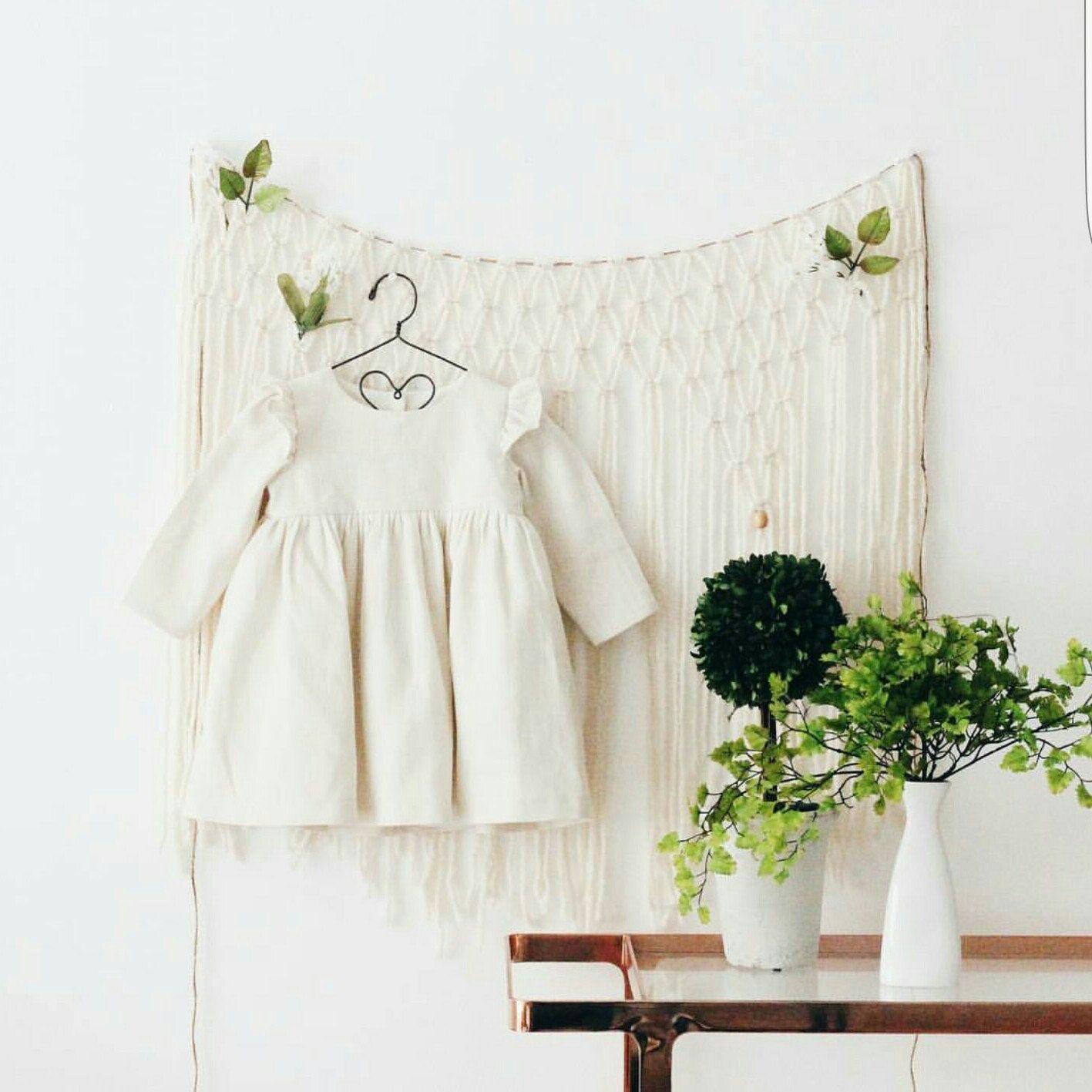 Ivory Modern Macrame Hanging for Boho Window Decor or Wall Art Baby