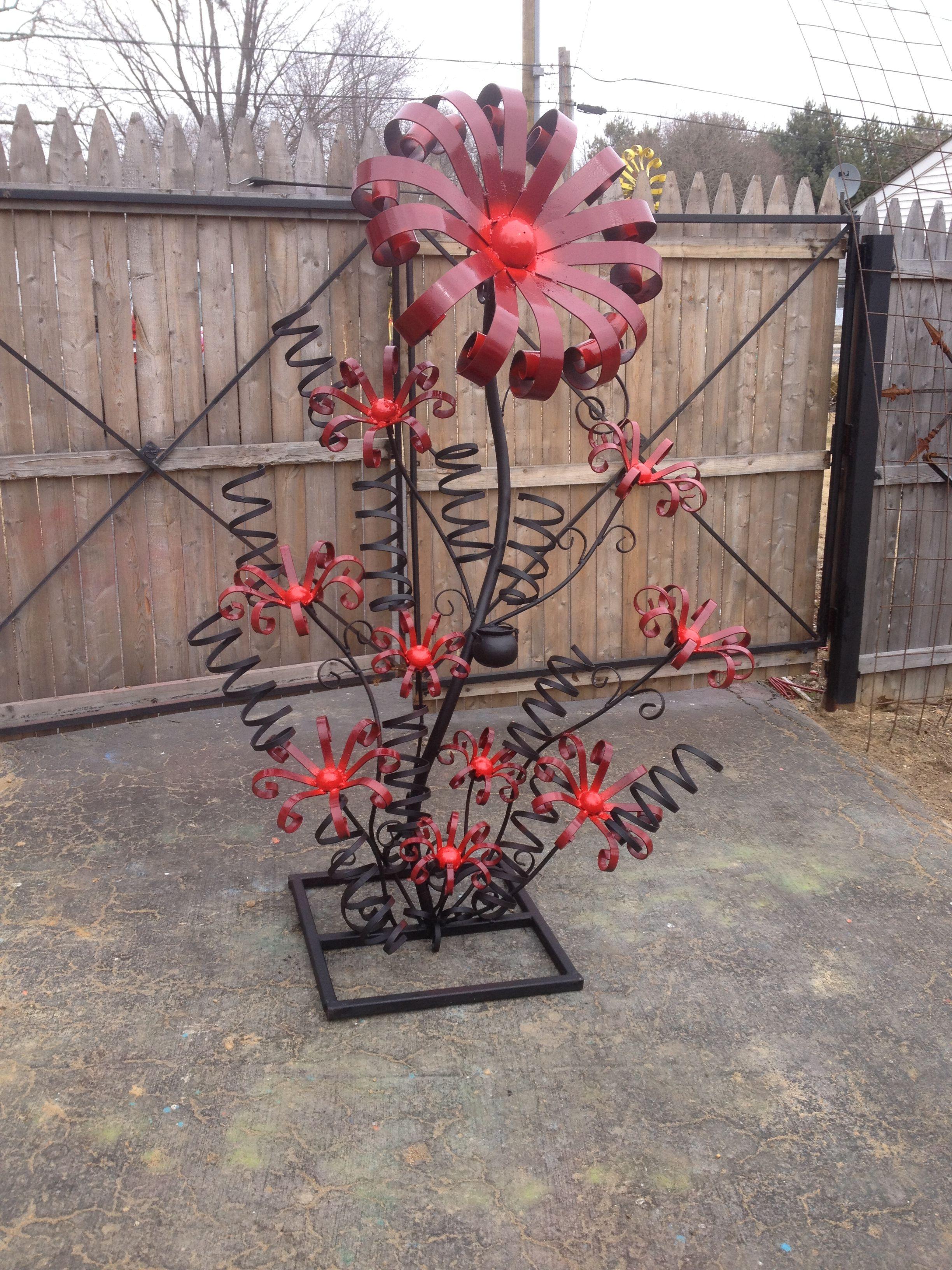 Poppy flower stake garden art poppy strong metal yard art flower - Steel Flower Sculpture