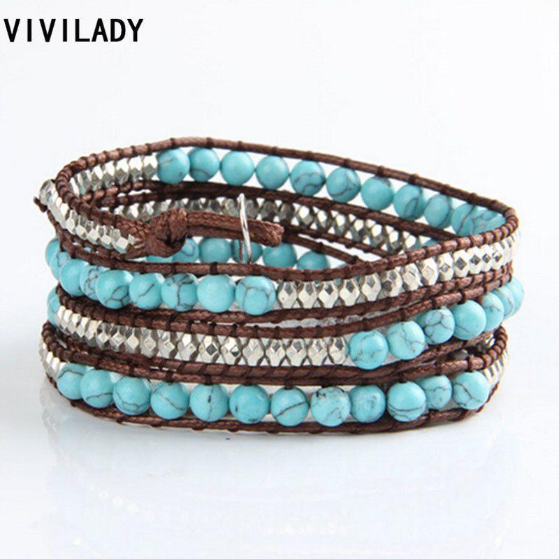 VIVILADY Fashion Wrapped Natural Turquoise Bracelets Muti-layered ...