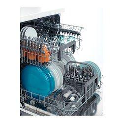 SKINANDE Zabudovateľná umývačka - IKEA Šetrí vodu a energiu, pretože môžete naraz umyť až 12 súprav riadu len v 9,9 litroch vody – všetko bude krásne čisté.