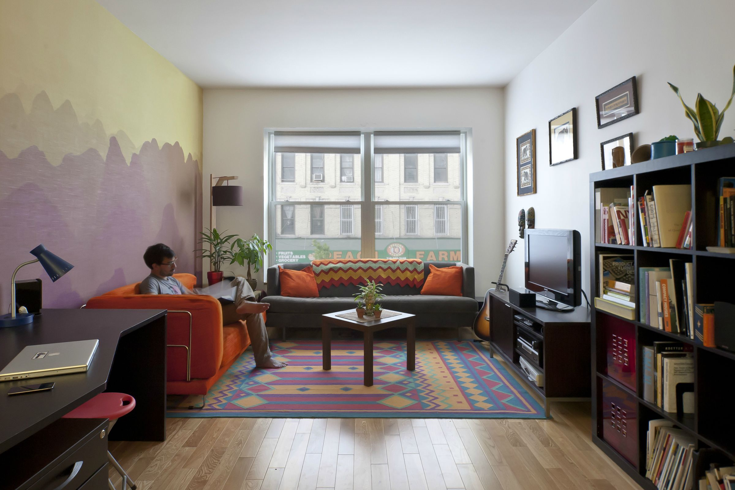 My Apartment In Brooklyn Ny Malelivinge Sunset Mountains Painted Wall Funky Rug