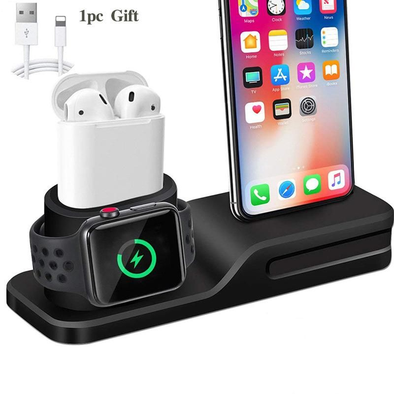 3 In 1 Charging Dock Holder For Iphone X Iphone 8 Iphone 7 Iphone 6 Silicone Charging Stand Charging Dock Iphone Watch Iphone