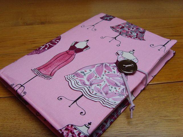 Pink dresses print fabric covered journal, sketchbook, notebook £20.00