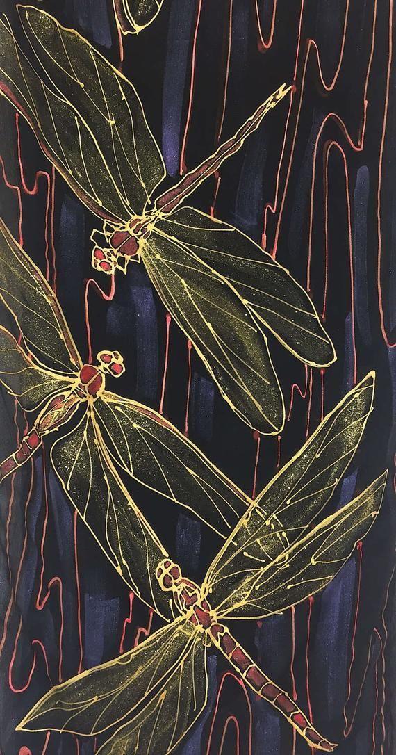 Dragonfly Scarf, Silk Scarf Handpainted, ETSY, Gol