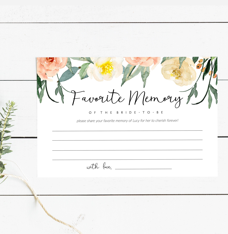 Editable Favorite Memory Bridal Shower Game Printable