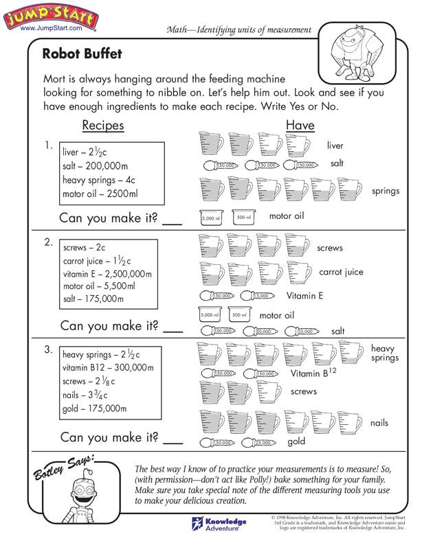 Robot Buffet 3rd Grade Measurement Worksheets for Kids – Measurement Worksheets for Kindergarten