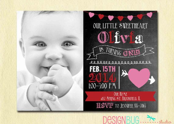 Chalkboard Valentine Birthday Girl Invitation Red Pink Hearts - Birthday invitation 1 year old baby girl