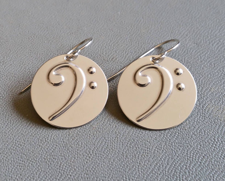Bass clef earrings bass earrings music jewelry musician