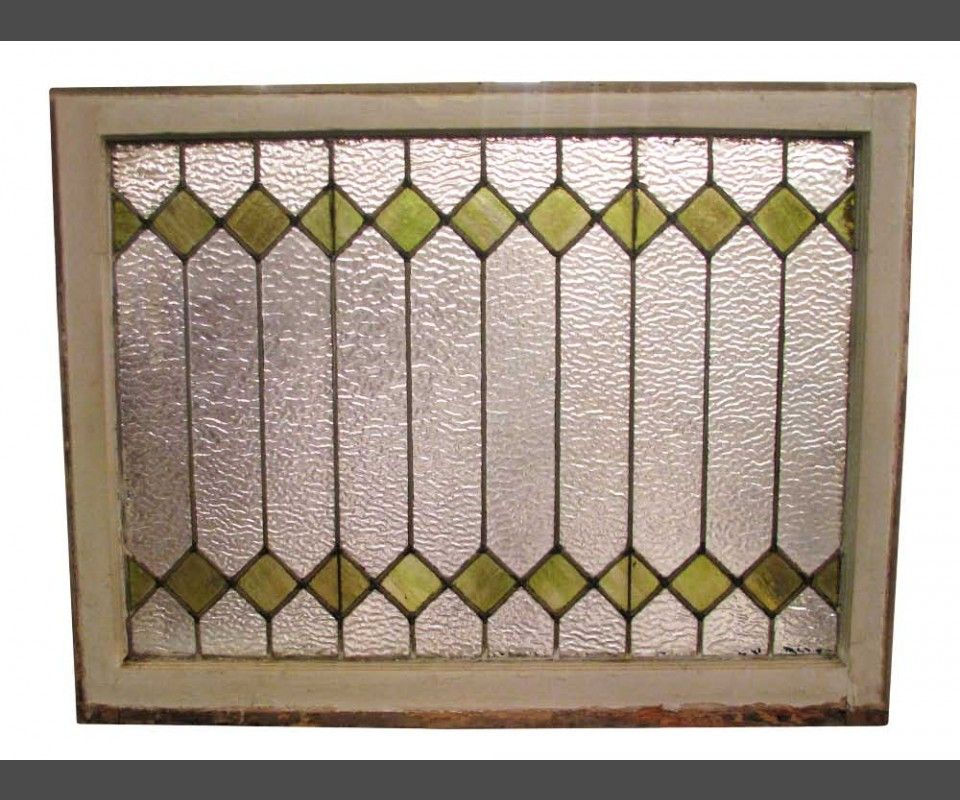 This Leaded Glass Window Has Light Green Diamond Cuts The Glass Is