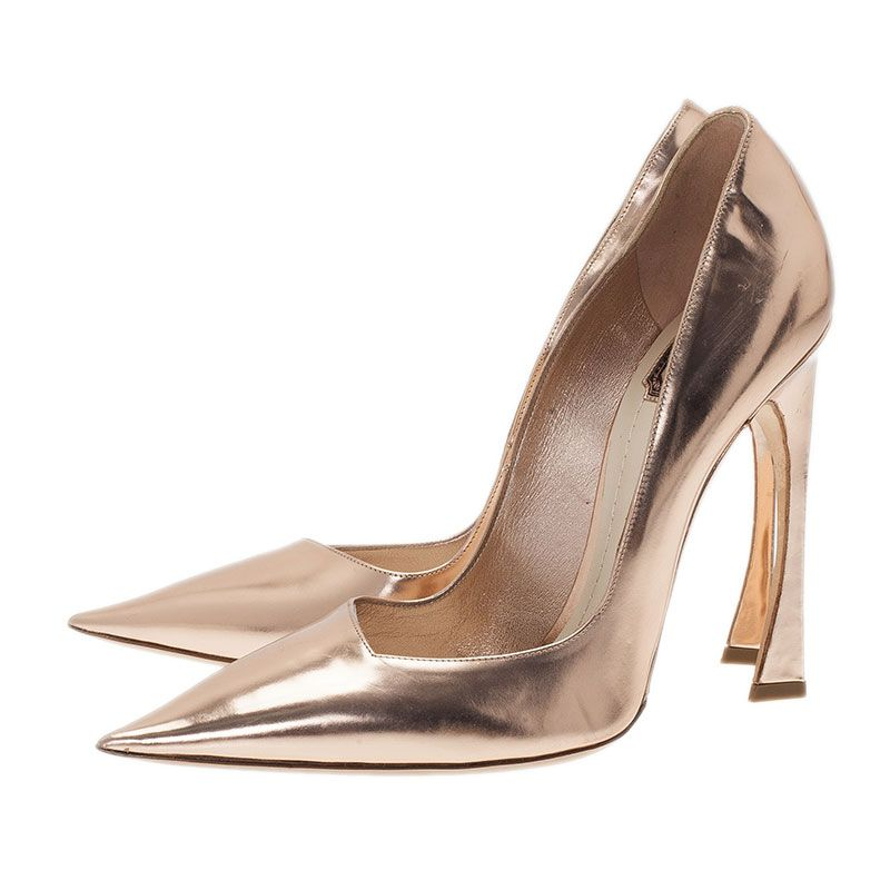 b315c25e1cf Dior Gold Mirror Leather Pointed Toe Pumps Size 41 - Buy   Sell - LC