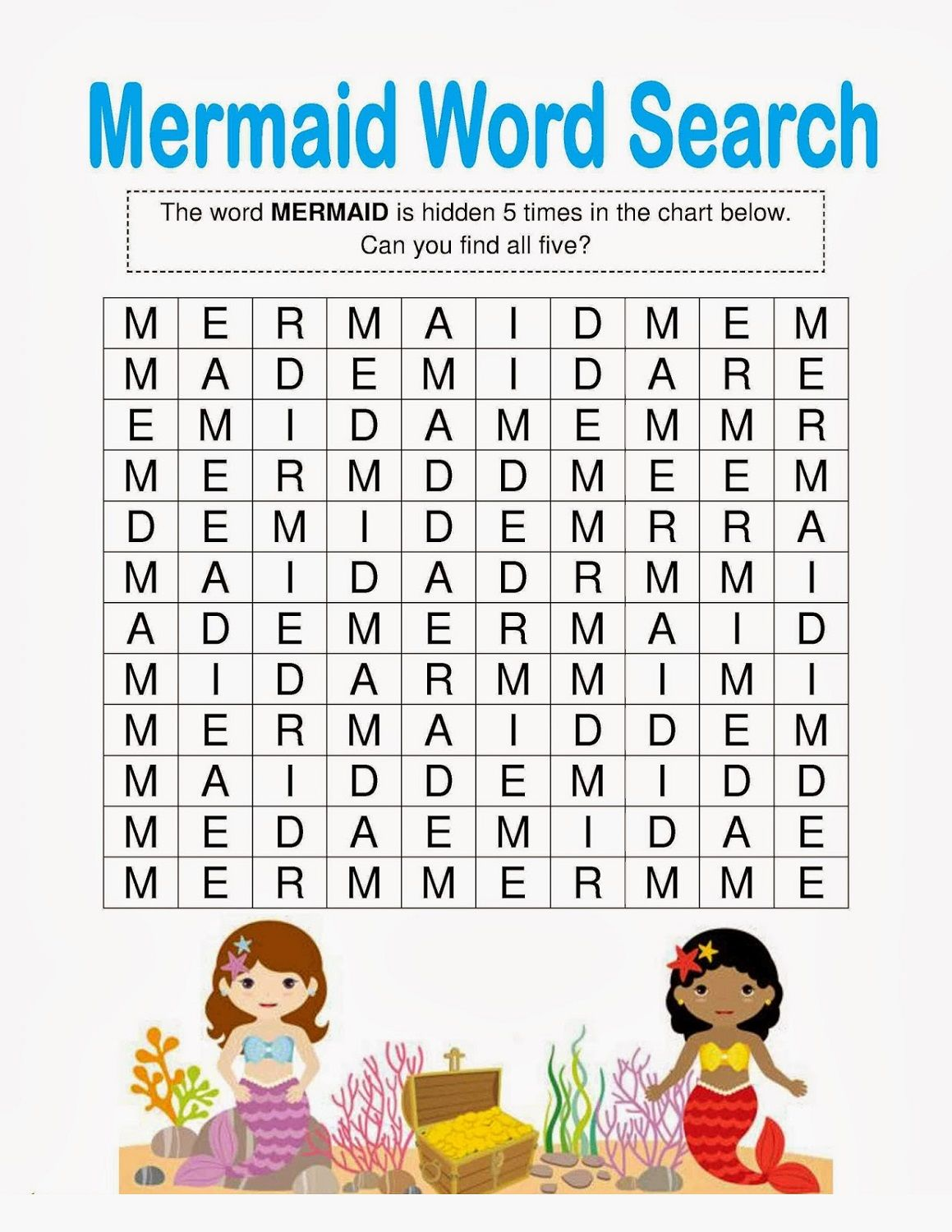 Little Mermaid Activities Wordsearch