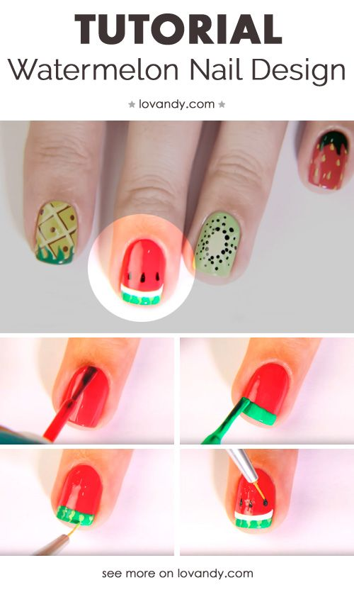 How To Do A Watermelon Nails Design Great Ideas Pinterest
