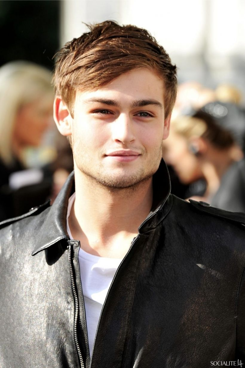 Douglas booth lfw jacket leather fashion hair fashion menus