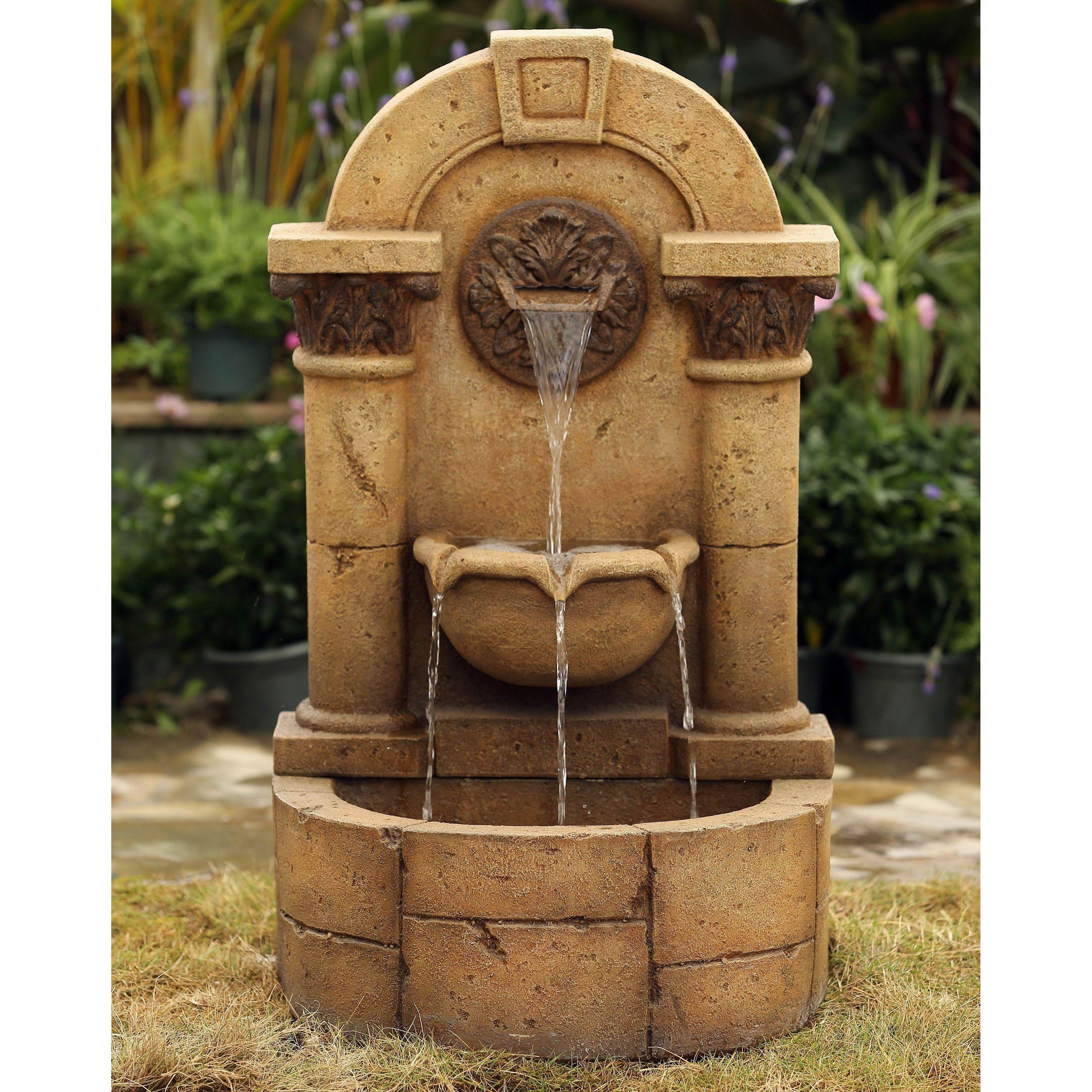 Jeco Marble Pillar Garden Wall Indoor/Outdoor Fountain | from ...