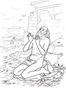Job On The Dunghill Coloring Page