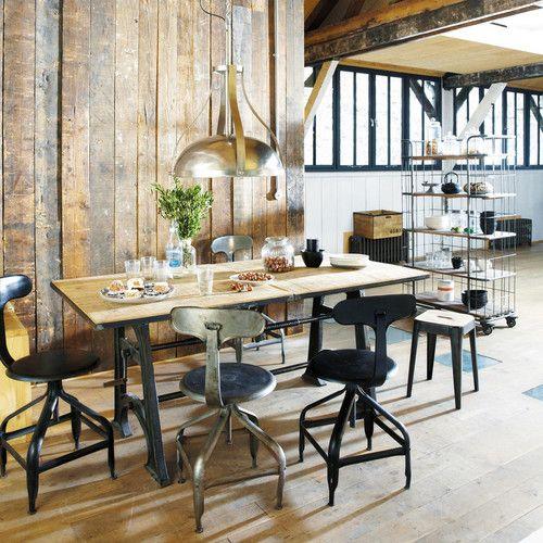 table manger indus extensible 8 10 personnes l180 220 rallonges massif et maison du monde. Black Bedroom Furniture Sets. Home Design Ideas