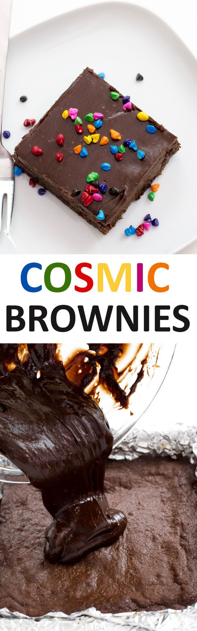 Copycat Cosmic Brownies topped with a Chocolate Ganache and rainbow sprinkles! Super chocolatey, rich and chewy! Just like your childhood favorite. | chefsavvy.com #recipe #desserts #cosmic #brownies #dessert