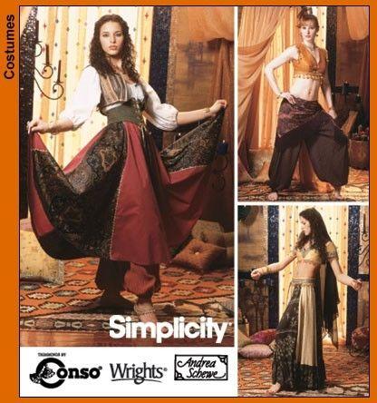 Sewing Pattern -Simplicity 5359 Bellydance Skirt, Harem Pants, Vest ...
