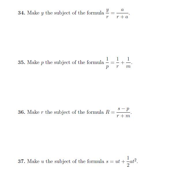 Rearranging Formulae Math Worksheets Formula Math