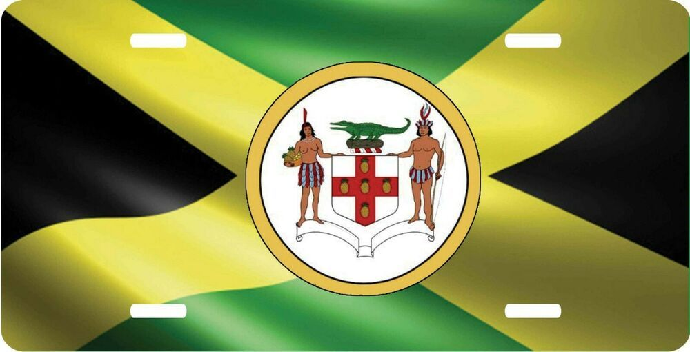 Jamaica Flag Personalized License Plate Tag With Coat Of