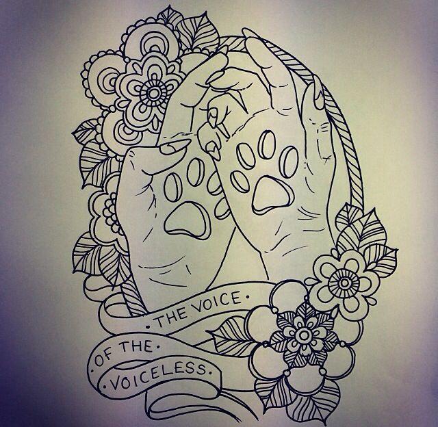 Paw print on hands tattoo