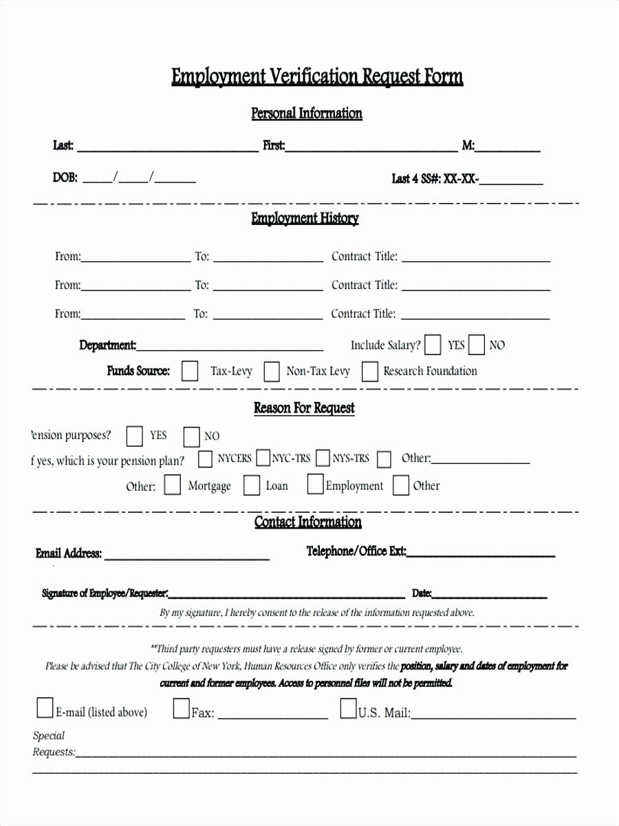 Free Employment Verification Form Template Fresh Template Employment Verification Form Template Employee Tax Forms Templates Employment