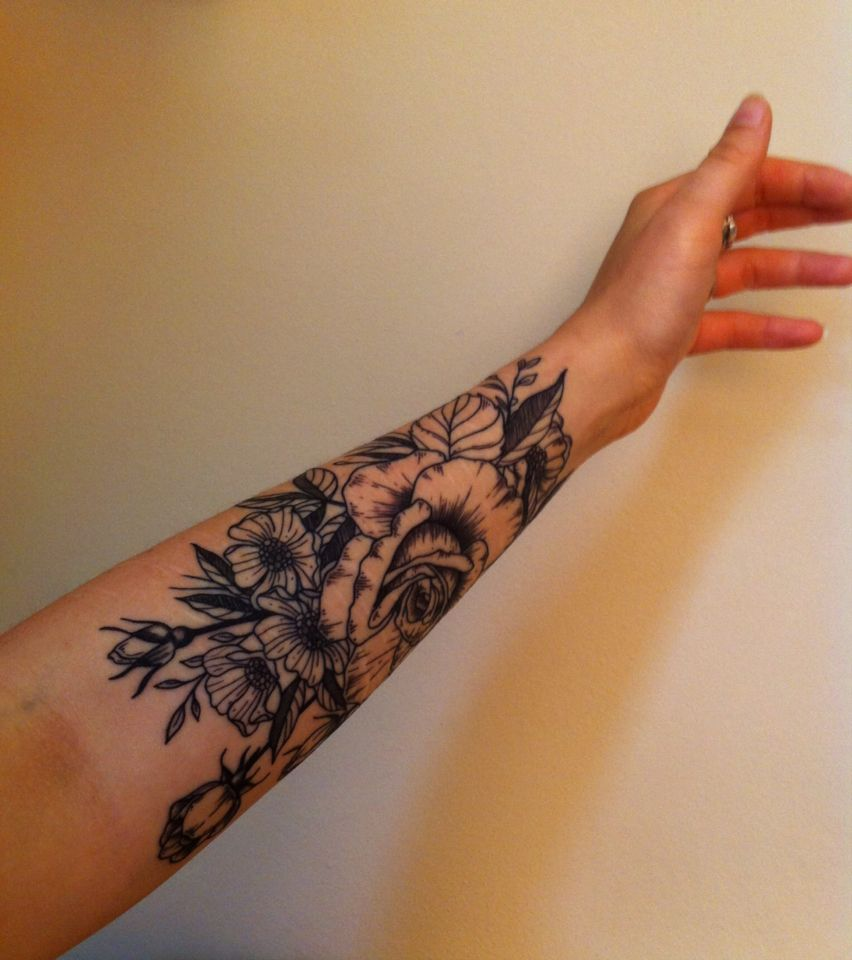 6595b65b1 Vintage flowers tattoo, half sleeve, lots of line work. | Tattoo ...