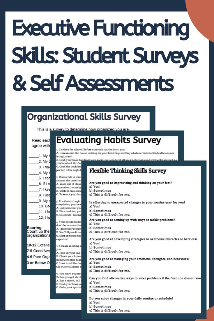 Executive Functioning Skills Student Surveys Self Assessments Student Survey Executive Functioning Skills Self Assessment