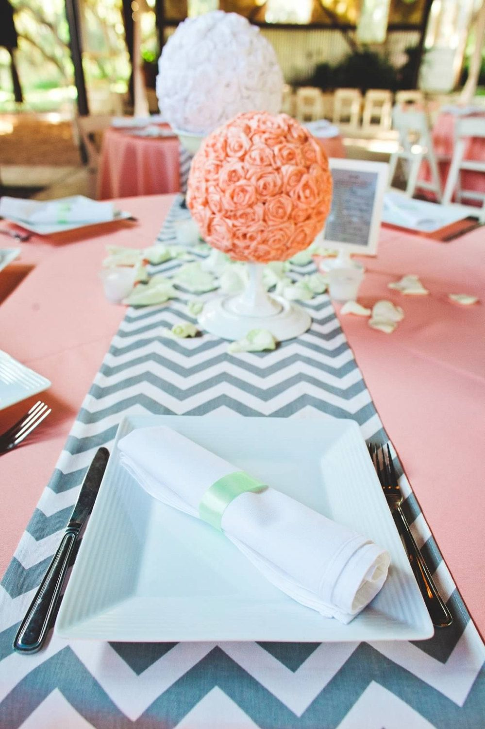 Navy Table Clothes Coral Chevron Runners Would Be Perfect.