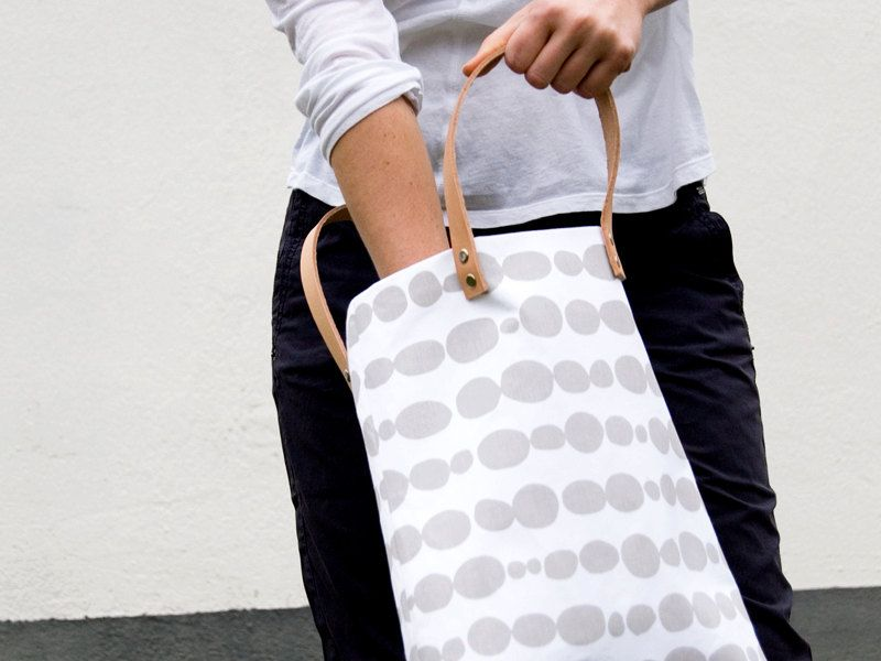 Leather & Cotton Tote by Heute Schmidt #gray #white #print #tote #bag