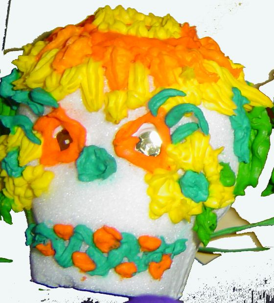 Sugar skull with sunflower--I made in 2008