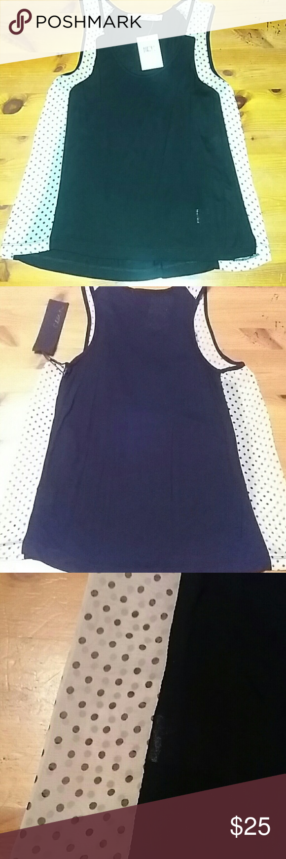Beautiful Black & White Polka Dot Tank Top Beautiful Chloe K Black & White Polka Dot Tank Top. 100% Rayon Cont / 100% Polyester. You will look amazing in this top. Chloe K Tops Tank Tops