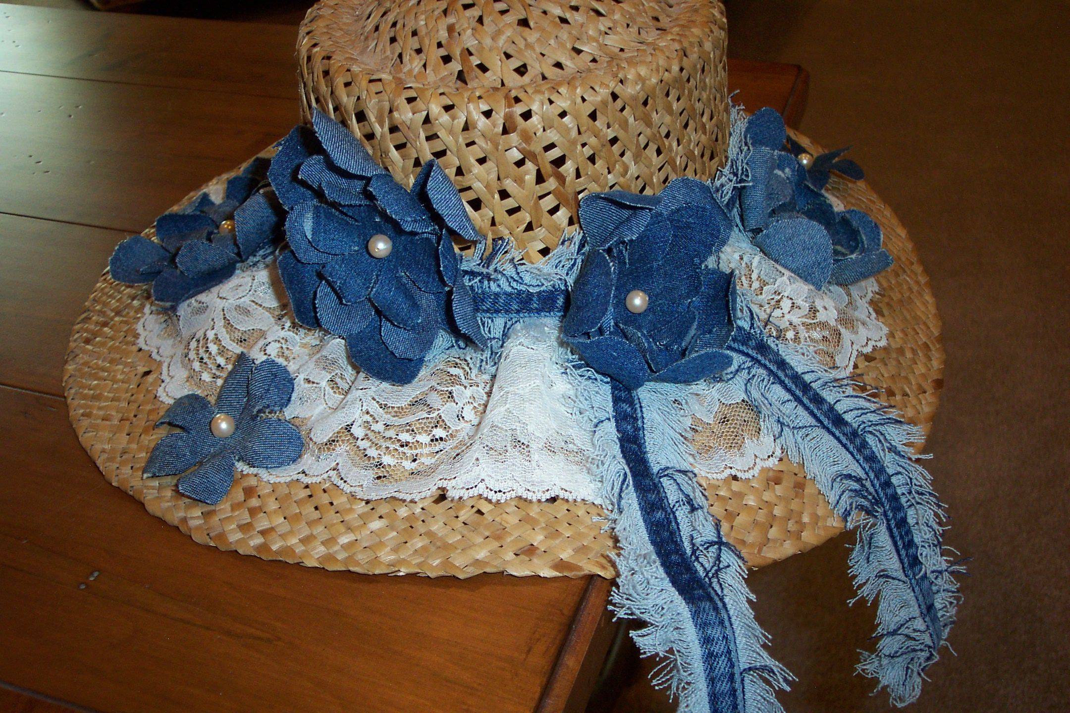 STRAW HAT WITH DENIM FLOWERS - image only no link
