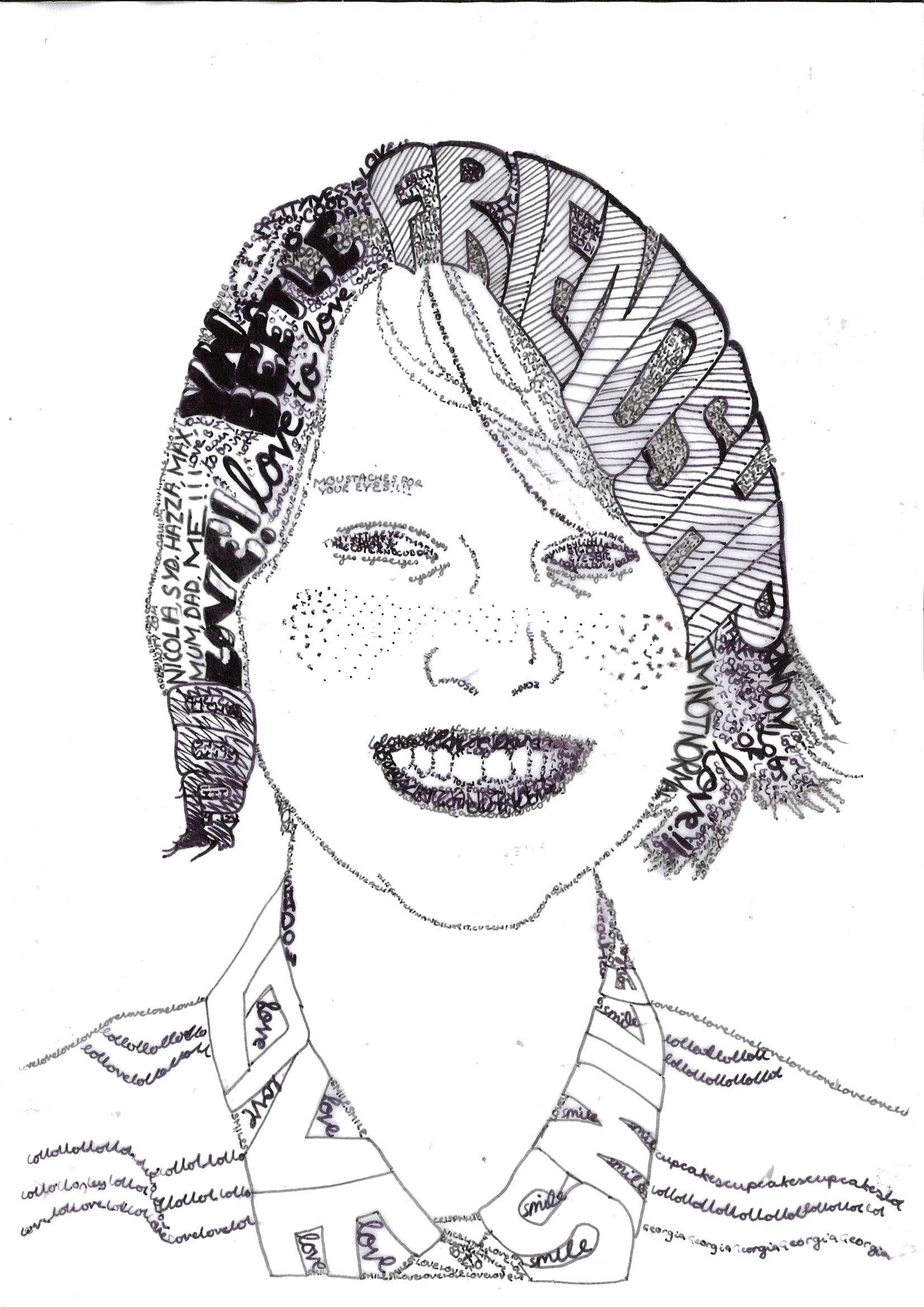 Calligram Portrait Words To Express Yourself Miss Allen S 13 Year 9 Class