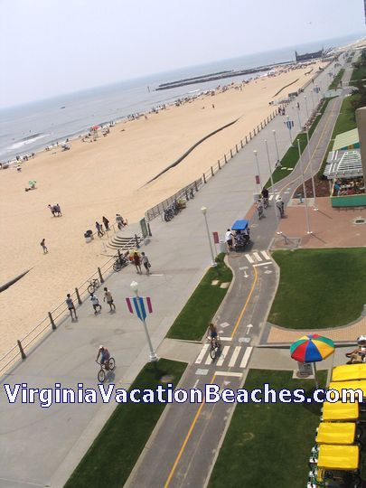 Virginia Beach Boardwalk And Bicycle Path Plus Wide Sandy Taken From Oceanfront Hotel Balcony