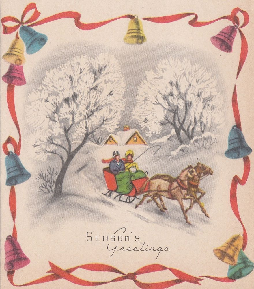 Vintage greeting card christmas bells old fashioned horse drawn vintage greeting card christmas bells old fashioned horse drawn sleigh r478 kristyandbryce Image collections