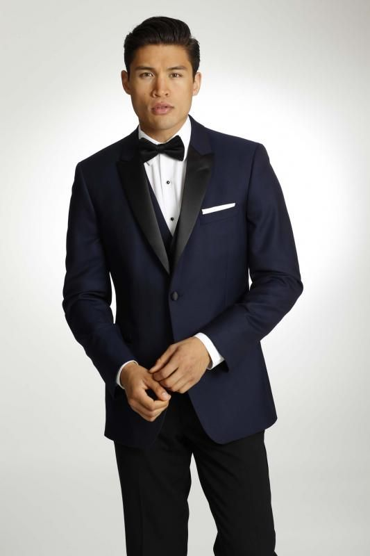 By far one of our favor navy tuxedos. This ike Behar has a black ...