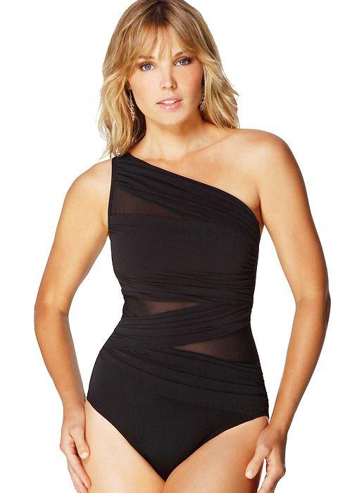 Miraclesuit Jena Asymmetrical Black Swimsuit