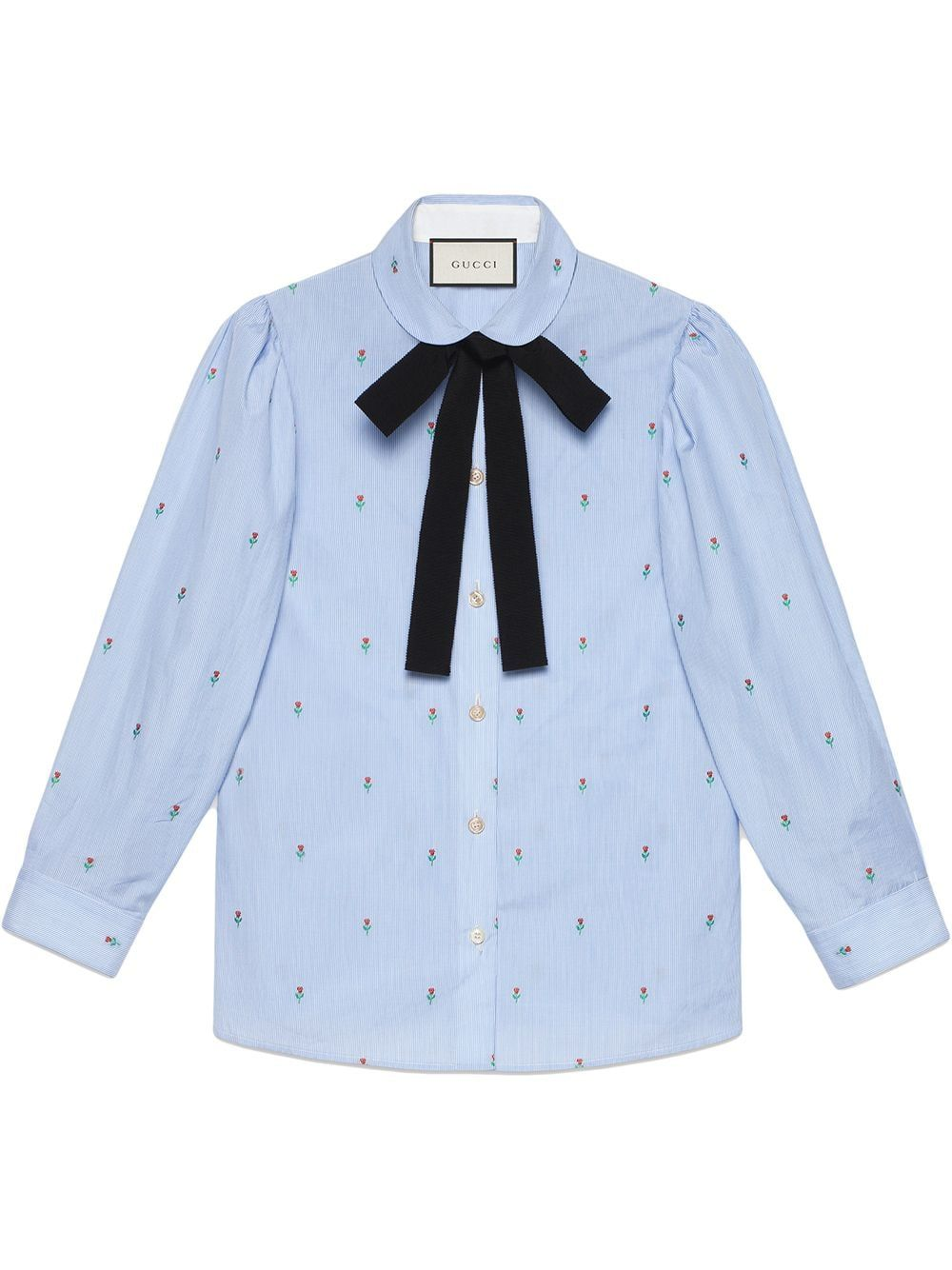 8635e7051 Gucci Rose fil coupé shirt - Blue in 2019 | Products | Shirts, Gucci ...