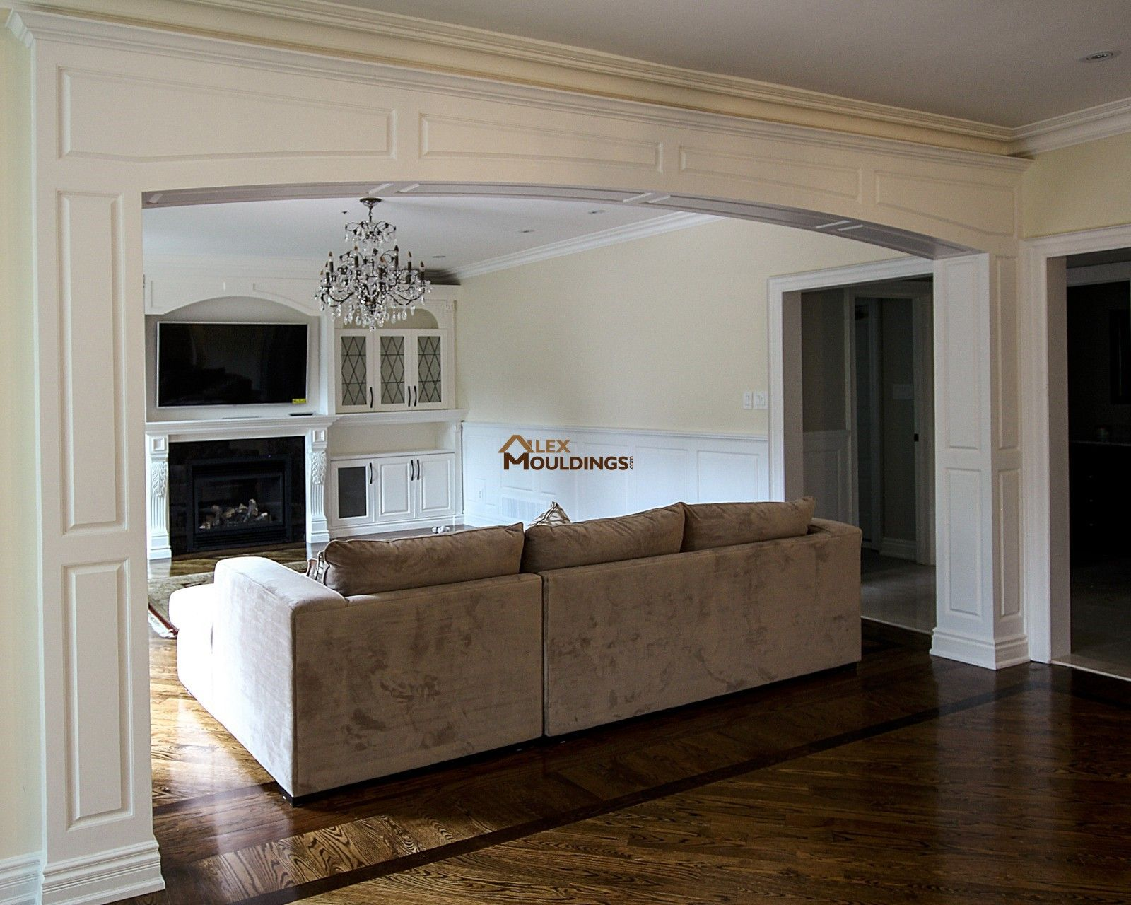 Wainscoting Paneling - Coffered Waffle Ceiling - Archways - Crown