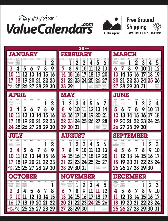 Calendar Year View : Big numbers span a year calendar quot