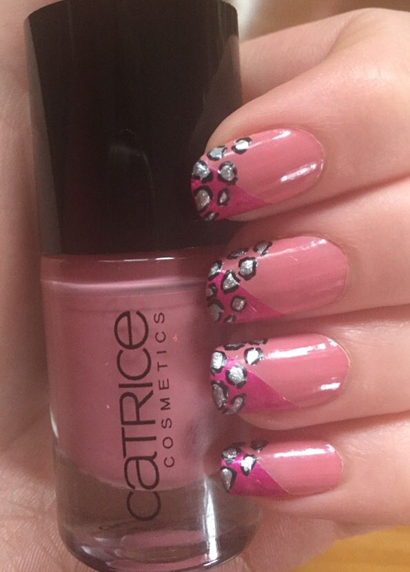 Pink French tip leopard nails