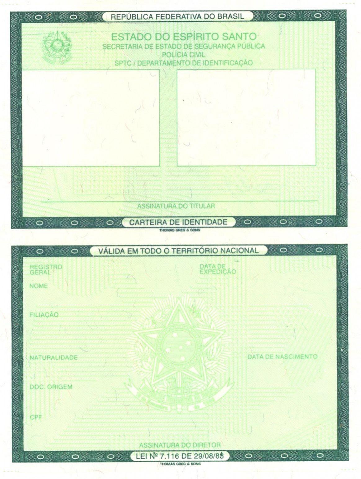 Blank military id card em 2020 carteira de identidade